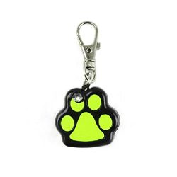 Braceus Pet Dog LED Flashing Night Light Footprint Paw Print Buckle Blink Collar Pendent (Black)