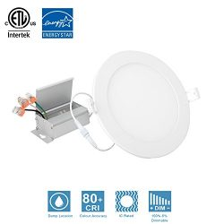 Dimmable 6inch 12W Round White Trim Panel Ceiling Light Fixture Recessed Ceiling Light 5000K Day ...