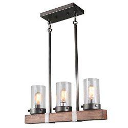 LNC Wood Chandeliers Kitchen Island Chandelier Lighting 3-Light Pendant Lights