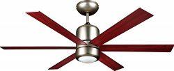 FJ WORLD FJ4815 Stylish ceiling fan with 6 blades 48″ length, I dome light, satin nickel f ...