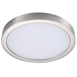 GetInLight Round 8-inch Dimmable Flush Mount Ceiling Fixture, (2nd Generation), 14 Watt, Brushed ...