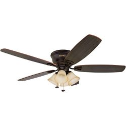 Honeywell Glen Alden 52-Inch Ceiling Fan with Sunset Shade Lights, Hugger/Flush Mount, Low Profi ...