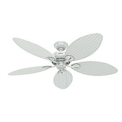 Hunter 54097 Bayview 54-Inch ETL Damp Listed Ceiling Fan with Five white Wicker/White Palm Leaf  ...