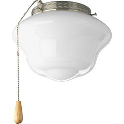 Progress Lighting P2644-09 Schoolhouse Universal Indoor Fan Light Kit, Brushed Nickel