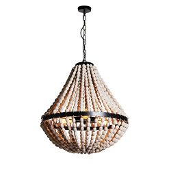 Wereal Pendant Light Vintage Shade Modern Wood Bead Europe Style,E26 Bulb Color Finsh Hanging Ce ...