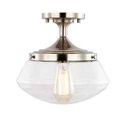 Light Society Crenshaw Flush Mount Ceiling Light, Satin Nickel with Clear Glass Shade, Vintage I ...