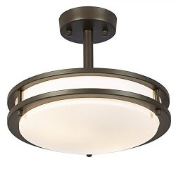 SOTTAE 13W (60W Equivalent) 2 Lights Bronze Finish Tempered Acrylic Flush Mount Ceiling Light, C ...