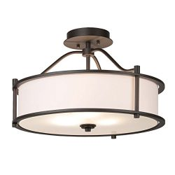 Semi Flush Mount Ceiling Light 18 inch 3 Light Close to Ceiling Light with Fabric Shade and Fros ...