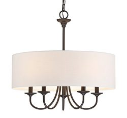 Kira Home Quinn 21″ Traditional 5-Light Chandelier + White Linen Drum Shade, Oil-Rubbed Br ...