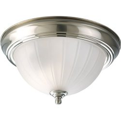 Progress Lighting P3816-09 1-Light Close-To-Ceiling with Etched Ribbed Glass, Brushed Nickel