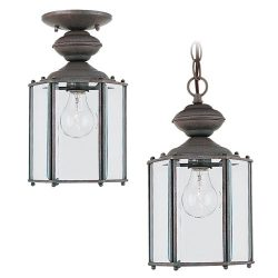 Sea Gull Lighting 6008-26 Single-Light Classico Outdoor Pendant, Clear Beveled Glass, Sienna Finish