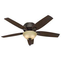 Hunter Fan Company 53314 Newsome Ceiling Fan with Light, 52″/Large, Premier Bronze