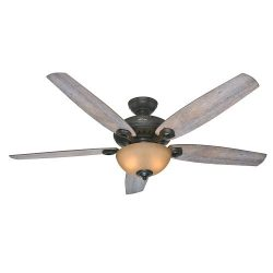 Hunter 54062 Valerian 60-Inch Brittany Bronze Ceiling Fan with Five Barnwood Blades and a Light Kit