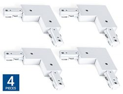 Hyperikon H Track Lighting Connector, L Track Connector, White Single Circuit 3-Wire Track Light ...
