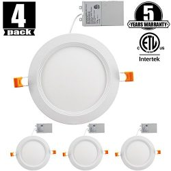 4 inch Slim LED Downlight Dimmable 9W (=65W) LED Recessed Lighting, 650LM 4000K Natural White cE ...