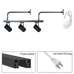 STGLIGHTING H-Type System 3.2ft Black Track Lighting Rail Bend Bracket with 15ft UL Plug Lamps N ...