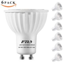 GU10 LED Bulbs,Dimmable Spot Light,3000K Warm White,7 Watt(50W 75W Halogen Bulbs Equivalent),40  ...