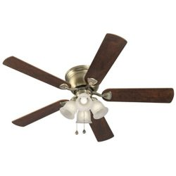 52″ CENTREVILLE Antique Brass Ceiling Fan with Light Kit