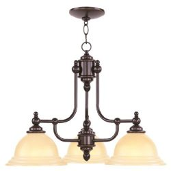 Livex Lighting 4253-67 North Port 3 Light Olde Bronze Chandelier with Iced Champagne Glass