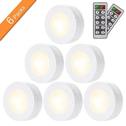 SALKING LED Under Cabinet Lighting, Wireless LED Puck Lights with Remote Control, Dimmable Close ...