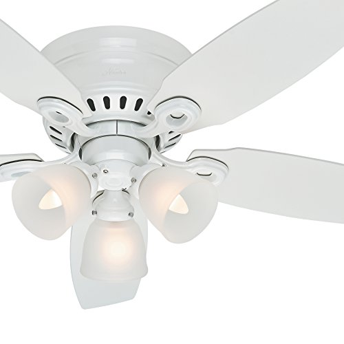 "Hunter Fan 46"" Snow White Finish Ceiling Fan With Clear"