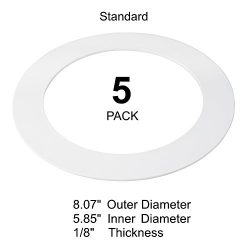 5 Pack White Goof Ring Trim Ring for Recessed Can and 6″ Inch Down Light Over…