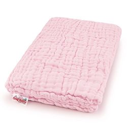 Coney Island Cotton Light Pink Muslin 6 Layer Multi Use Blanket Or Baby Towel Natural Antibacter ...
