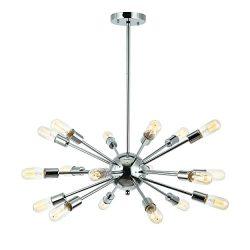 Light Society Sputnik 18-Light Chandelier Pendant, Chrome, Mid Century Modern Industrial Starbur ...
