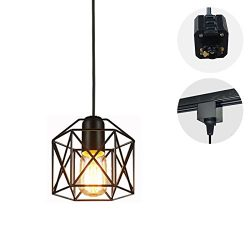 STGLIGHTING 1-Light H-type Track Light Pendants 4.9 Feet Cord Restaurant Chandelier Decorative I ...