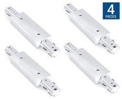 Hyperikon H Track Lighting Connector, I Straight Track Connector, White Single Circuit 3-Wire Tr ...