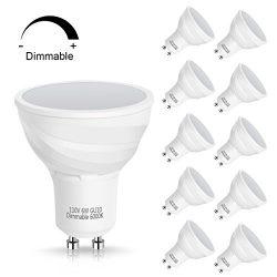 SmartinLiving GU10 6W LED Light Bulb, Equivalent 40W Traditional Bulb, Daylight White 6000K, 500 ...
