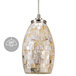 Kira Home Coast 9″ Contemporary Mini Pendant Light + Hand-Crafted Mosaic Shell Glass, Sati ...
