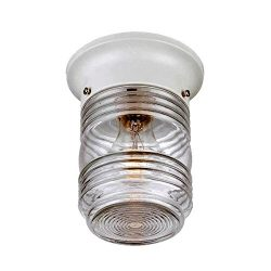 Acclaim 101WH Builder's Choice Collection 1-Light Ceiling Mount Outdoor Light Fixture, Glo ...