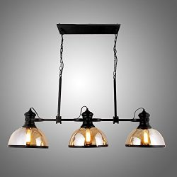 45″ Industrial Vintage Amber Glass Shade Hanging Pool Table Billiards Light Fixture Game R ...