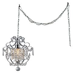 Whse of Tiffany RL4025 SWAG Cynthia 1-Light Crystal 11″ Chrome Swag Lamp