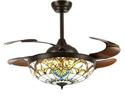 Siljoy Tiffany Style Ceiling Fans with Lights and Retractable Blades Dark Brown Invisible Fan Ch ...