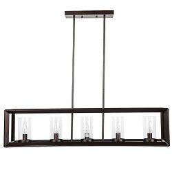 Emliviar 5-Light Kitchen Island Lighting, Modern Domestic Linear Pendant Light Fixture, Oil Rubb ...