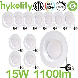 Hykolity 5/6 Inch LED Recessed Downlight, 15W 1100LM Dimmable Retrofit Recessed Can Downlight, 5 ...