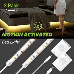 Megulla Motion Activated Bed Light, Motion Sensor LED Night Light -39in, USB Rechargeable Batter ...