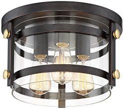 Eagleton 13 1/2″ Wide Oil-Rubbed Bronze LED Ceiling Light