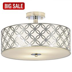SOTTAE Luxurious Living Room Bedroom Ceiling lamp Creamy White Glass Diffuser Chrome Finish Flus ...