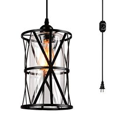 HMVPL Swag Lights with Plug in Cord and On/Off Dimmer Switch, New Transitional Hanging Pendant L ...
