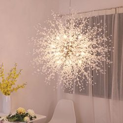 GDNS Chandeliers Firework LED Light Stainless Steel Crystal Pendant Lighting Ceiling Light Fixtu ...