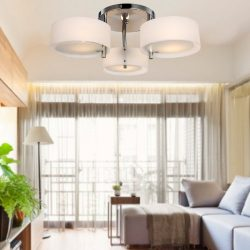 LOCO Acrylic Chandelier with 3 lights (Chrome Finish) Flush Mount Chandeliers Modern Ceiling Lig ...