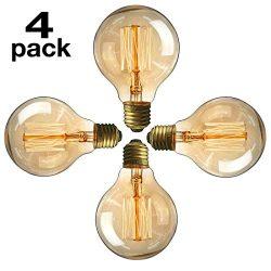 Edison Light Bulb 60 Watt Vintage Light Bulb, 110V E26 G80 Base Solobay Warm White Clear Pendent ...