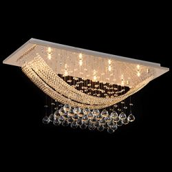 Crystal Mount Flush Chandelier With 8 Lights Ceiling Light Fixture Modern Chandelier of CRYSTOP