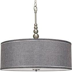 Kira Home Adelade 22″ Modern Chandelier w/Grey Fabric Drum Shade & Glass Diffuser, Bru ...