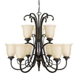 Globe Electric 65572 Beverly 9-Light Chandelier, Dark Bronze Color, Satin Finish, Amber Glass Shades