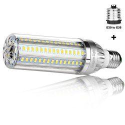 50W Super Bright Corn LED Light Bulbs (500W Equivalent) – E26 with E39 Mogul Base Adapter  ...