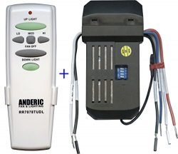 Anderic Replacement Universal Remote Control Conversion Kit with Dimming for Fan with Up and Dow ...